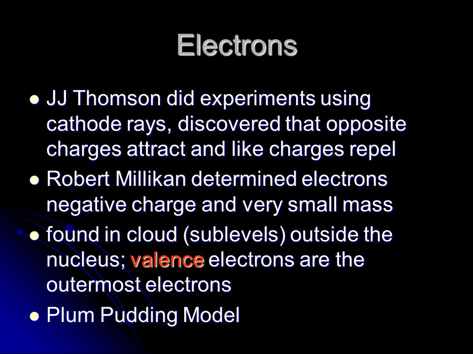 Electrons JJ Thomson did experiments using cathode rays, discovered that opposite charges attract and like charges repel JJ Thomson did experiments using cathode rays, discovered that opposite charges attract and like charges repel Robert Millikan determined electrons negative charge and very small mass Robert Millikan determined electrons negative charge and very small mass found in cloud (sublevels) outside the nucleus; valence electrons are the outermost electrons found in cloud (sublevels) outside the nucleus; valence electrons are the outermost electrons Plum Pudding Model Plum Pudding Model