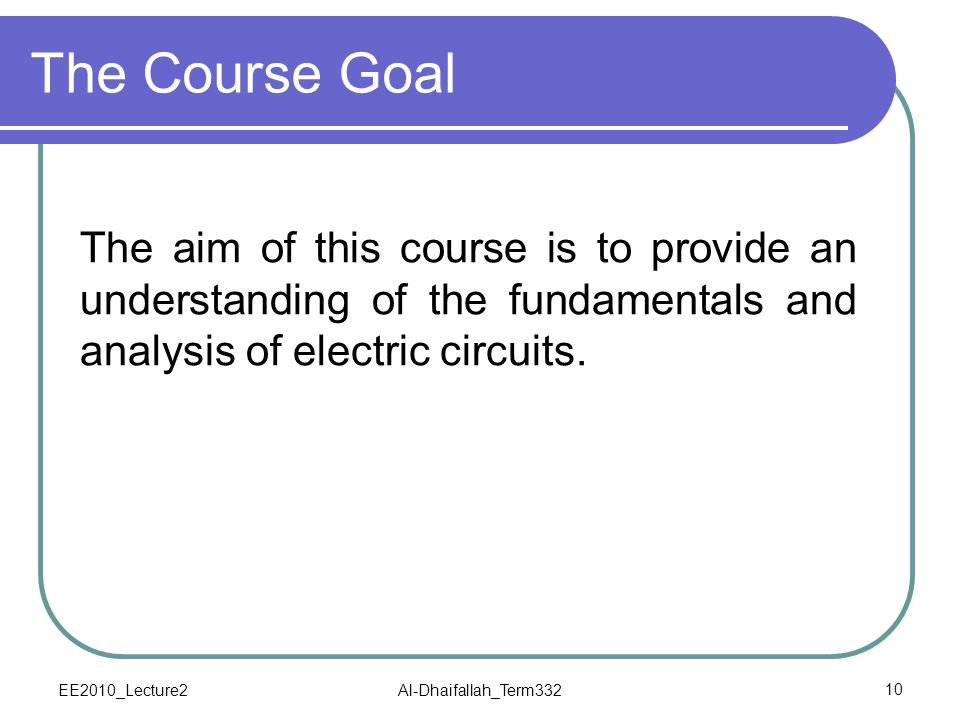 EE2010_Lecture2Al-Dhaifallah_Term33210 The Course Goal The aim of this course is to provide an understanding of the fundamentals and analysis of elect