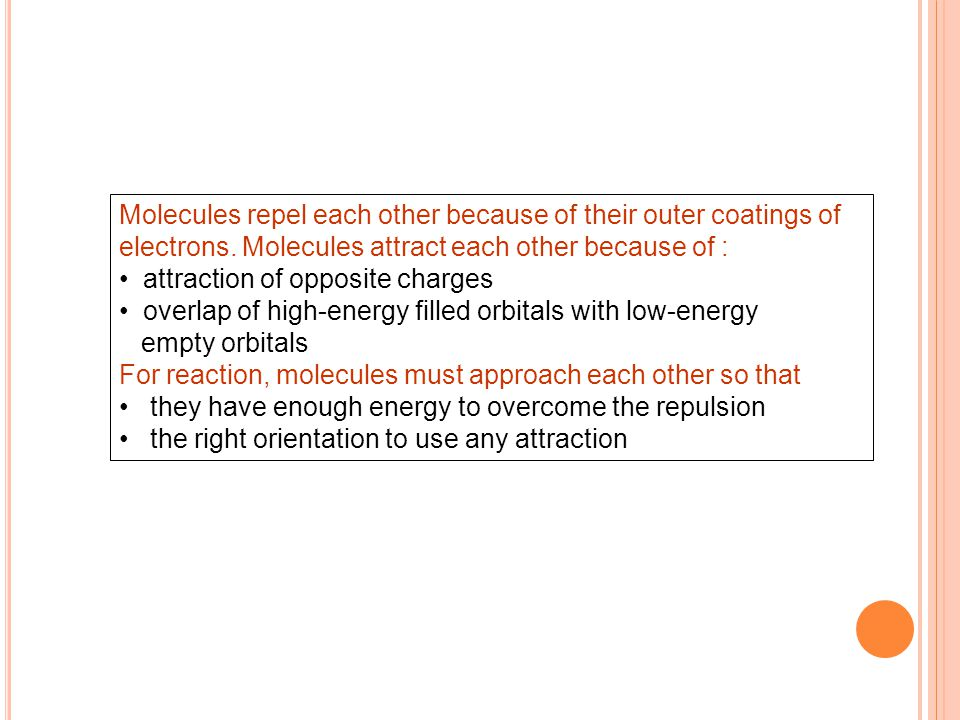 Molecules repel each other because of their outer coatings of electrons.