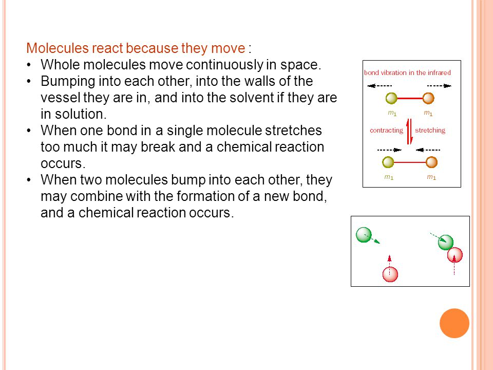 Molecules react because they move : Whole molecules move continuously in space.