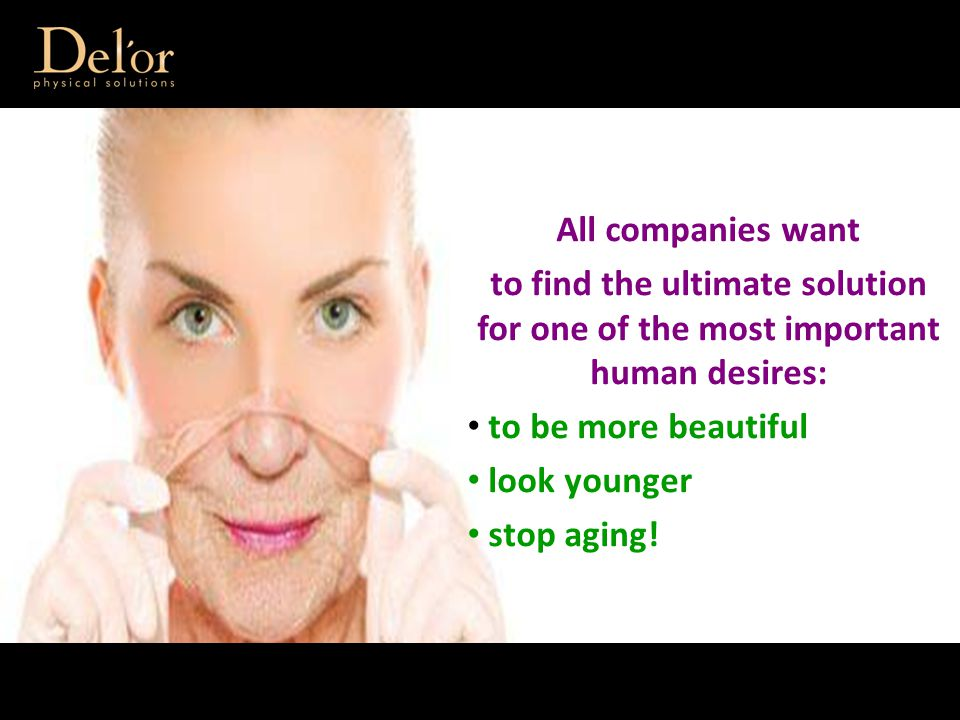 All companies want to find the ultimate solution for one of the most important human desires: to be more beautiful look younger stop aging!