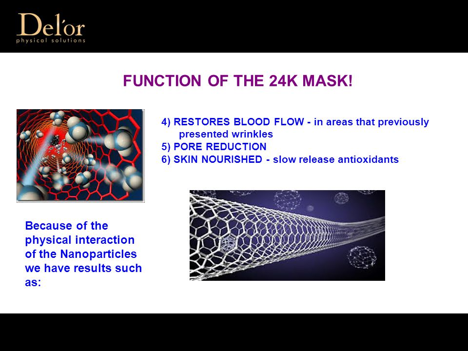 FUNCTION OF THE 24K MASK! Because of the physical interaction of the Nanoparticles we have results such as: 4) RESTORES BLOOD FLOW - in areas that pre