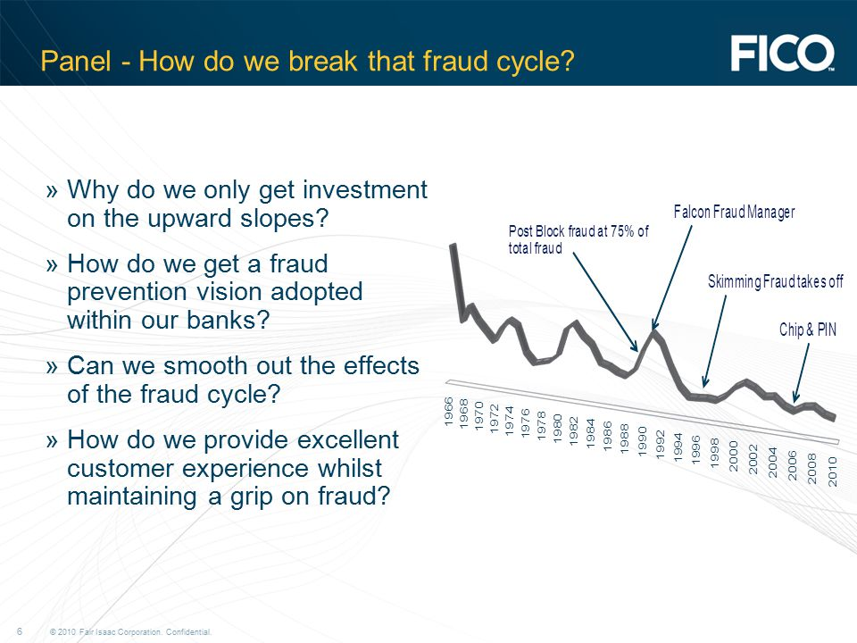 © 2010 Fair Isaac Corporation. Confidential. 6 Panel - How do we break that fraud cycle.