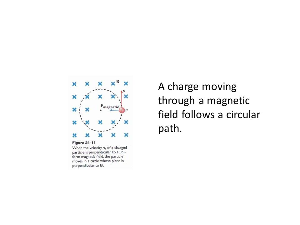 A charge moving through a magnetic field follows a circular path.