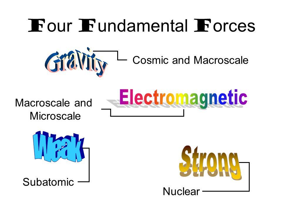 F our F undamental F orces Cosmic and Macroscale Macroscale and Microscale Nuclear Subatomic