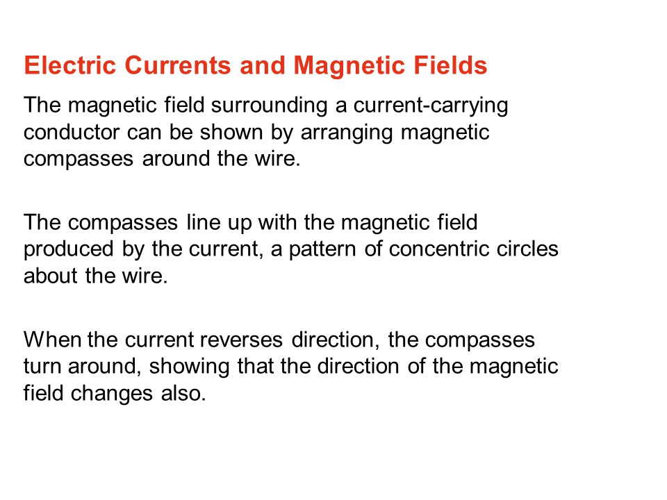 The magnetic field surrounding a current-carrying conductor can be shown by arranging magnetic compasses around the wire.