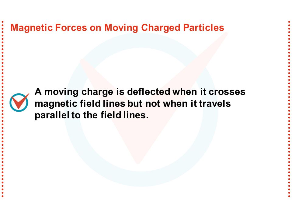 A moving charge is deflected when it crosses magnetic field lines but not when it travels parallel to the field lines.