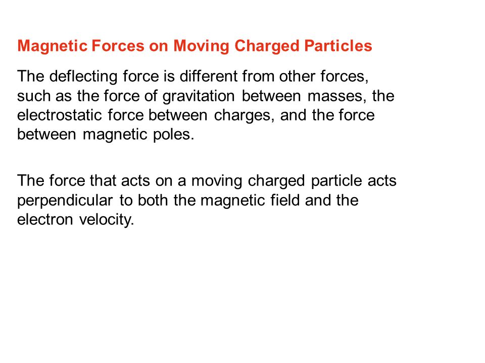 The deflecting force is different from other forces, such as the force of gravitation between masses, the electrostatic force between charges, and the force between magnetic poles.
