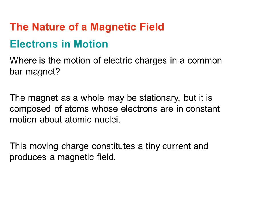 Electrons in Motion Where is the motion of electric charges in a common bar magnet.