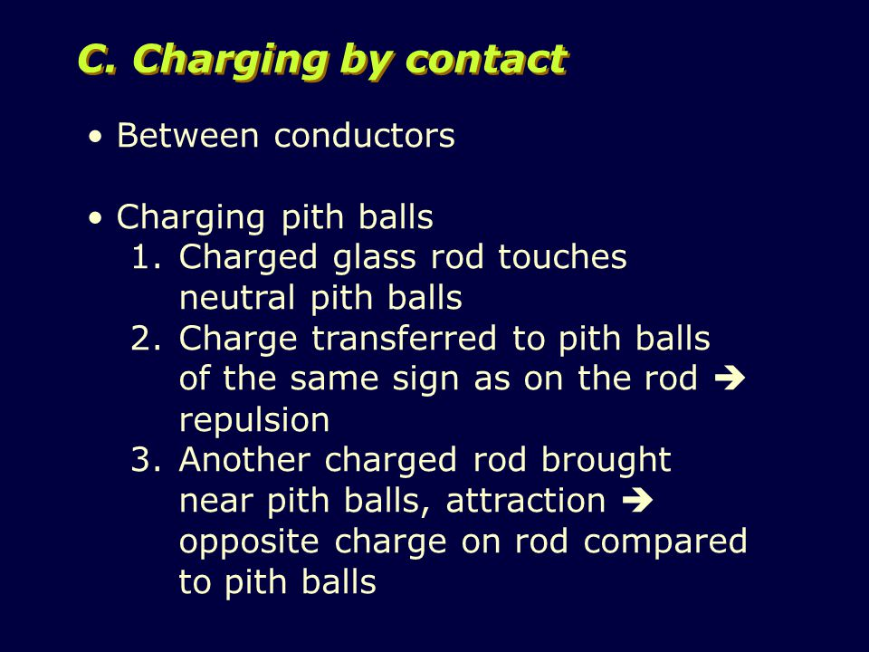 Between conductors Charging pith balls 1.Charged glass rod touches neutral pith balls 2.Charge transferred to pith balls of the same sign as on the rod  repulsion 3.Another charged rod brought near pith balls, attraction  opposite charge on rod compared to pith balls C.