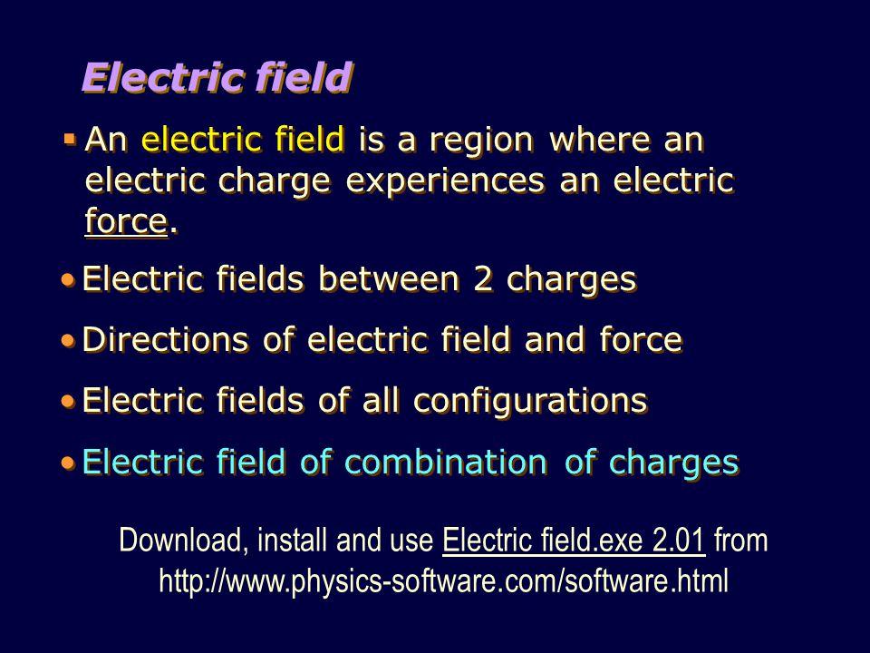Electric field  An electric field is a region where an electric charge experiences an electric force.