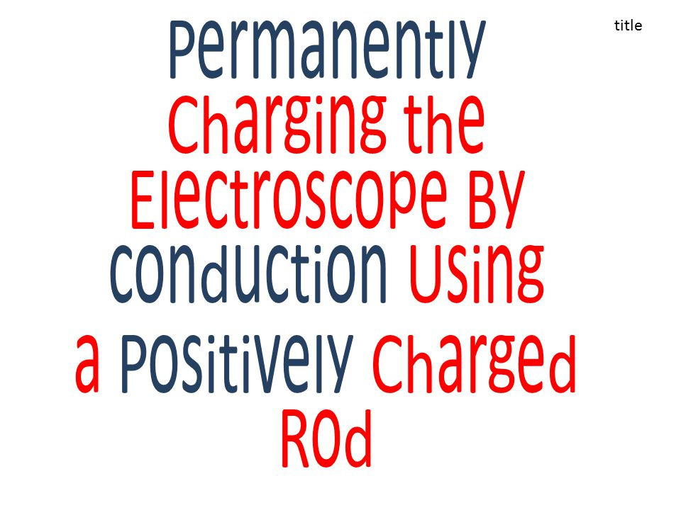 Permanently Charging the Electroscope By conduction Using a Positively Charged Rod title