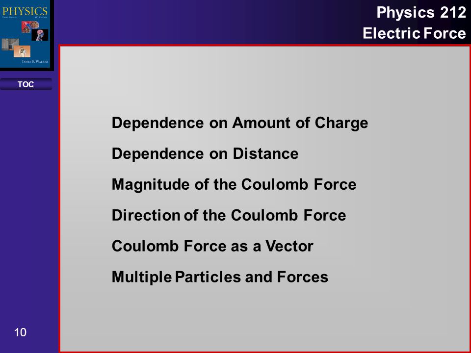 TOC 10 Physics 212 Electric Force Dependence on Amount of Charge Dependence on Distance Magnitude of the Coulomb Force Direction of the Coulomb Force Coulomb Force as a Vector Multiple Particles and Forces