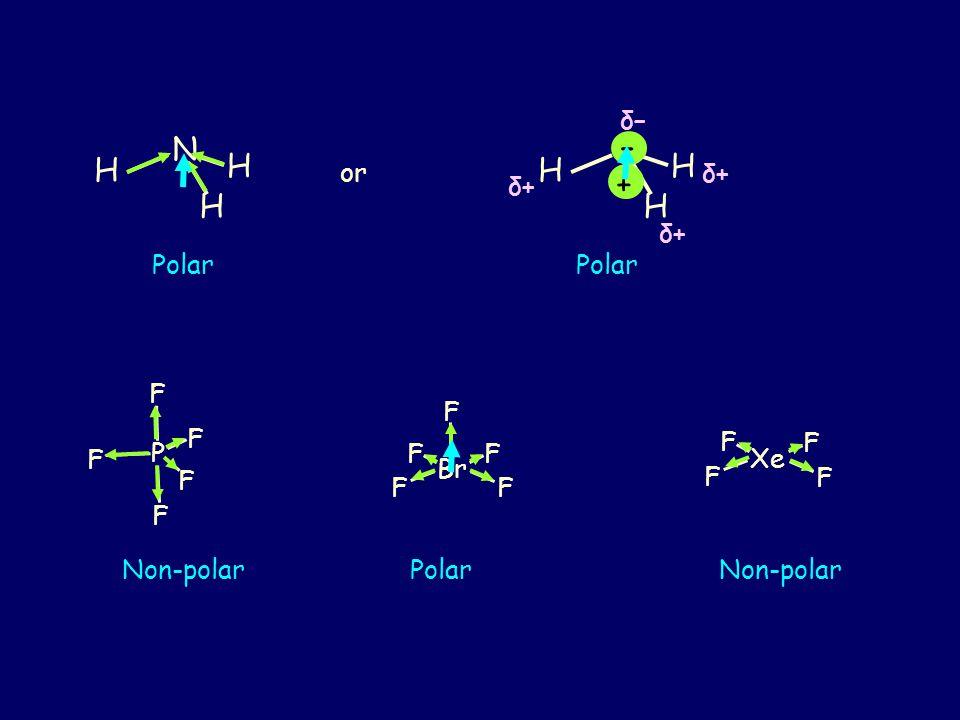 H H N H H H N H δ+δ+ δ–δ– δ+δ+ – + δ+δ+ Polar P F F F F F Br F FF F F PolarNon-polar Xe F F F F Non-polar or