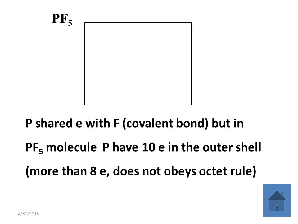 4/30/201524 P shared e with F (covalent bond) but in PF 5 molecule P have 10 e in the outer shell (more than 8 e, does not obeys octet rule) PF 5 P F F F F F..
