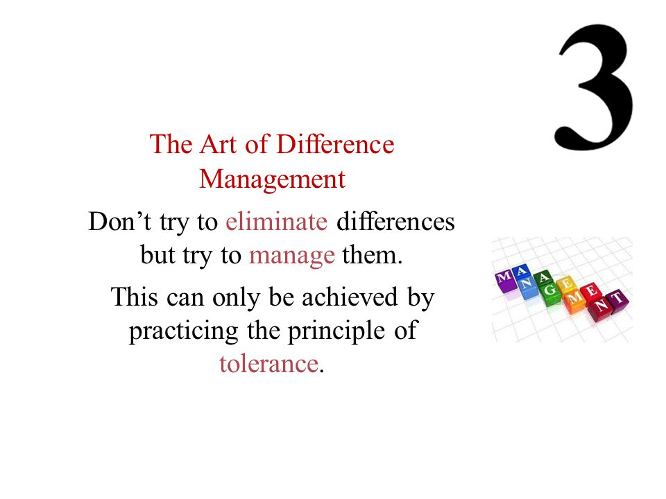The Art of Difference Management Don't try to eliminate differences but try to manage them.