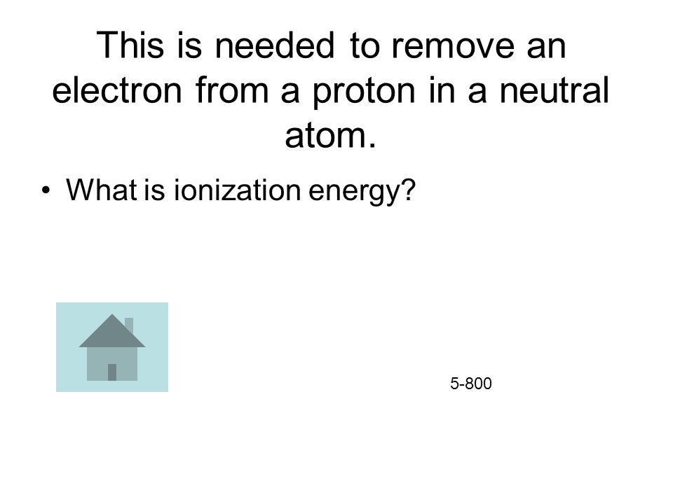 This is needed to remove an electron from a proton in a neutral atom.
