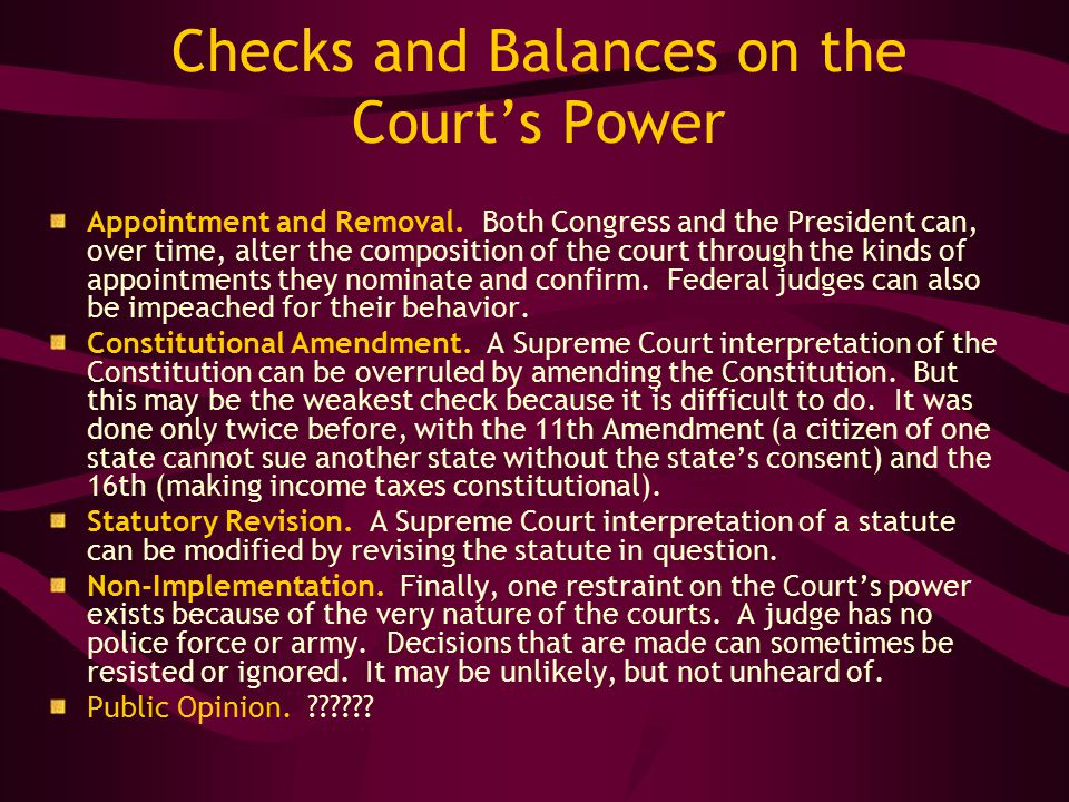 Checks and Balances on the Court's Power Appointment and Removal.