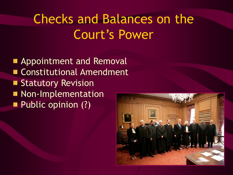 Checks and Balances on the Court's Power Appointment and Removal Constitutional Amendment Statutory Revision Non-Implementation Public opinion ( )