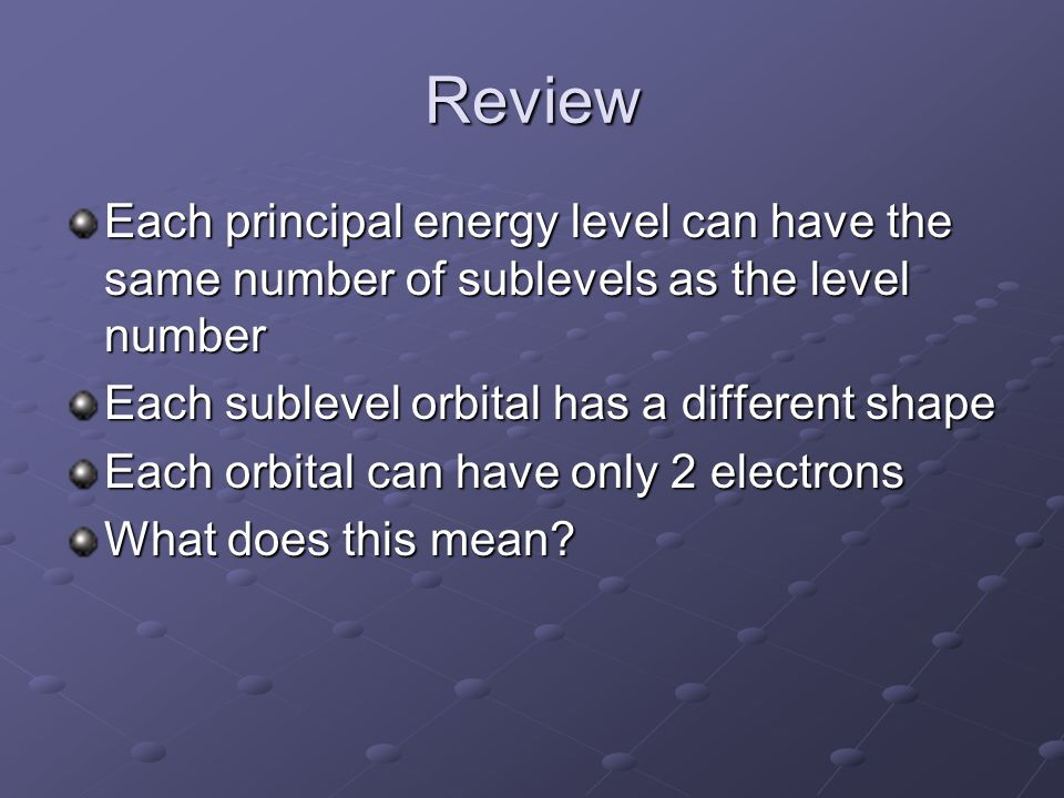 Review Each principal energy level can have the same number of sublevels as the level number Each sublevel orbital has a different shape Each orbital can have only 2 electrons What does this mean?