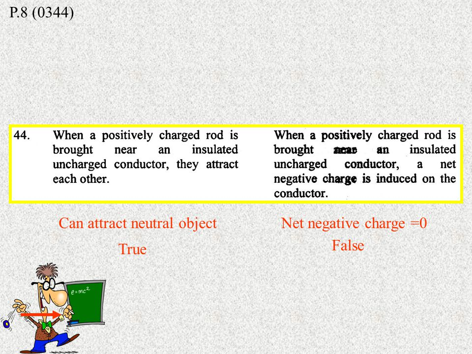 P.8 (9629) Repel each other X Attract each other Can attract neutral object