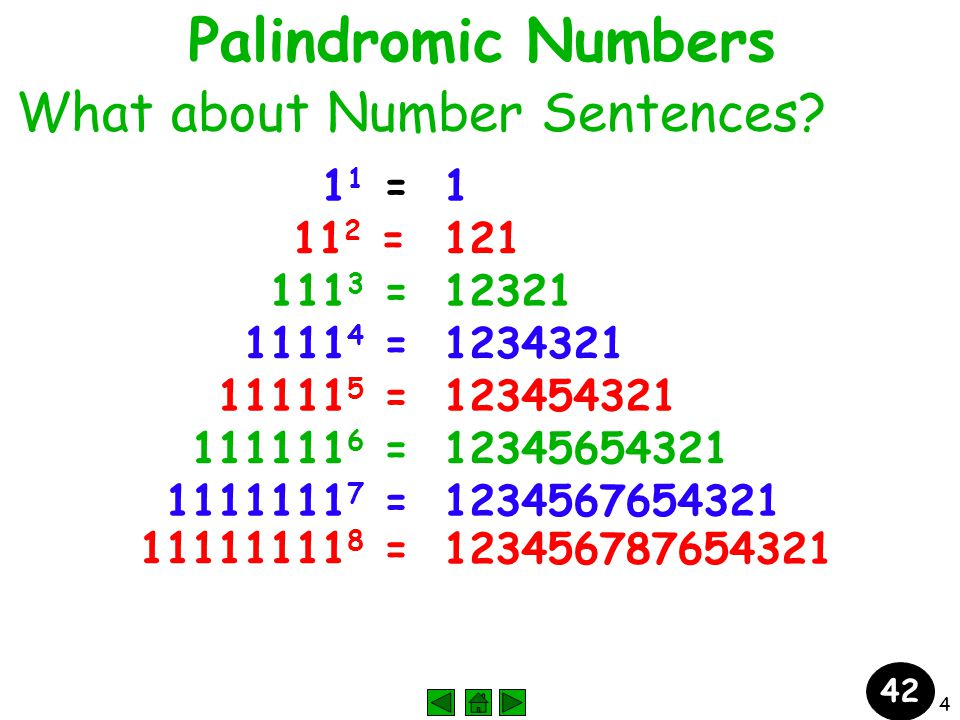 4 Palindromic Numbers What about Number Sentences.