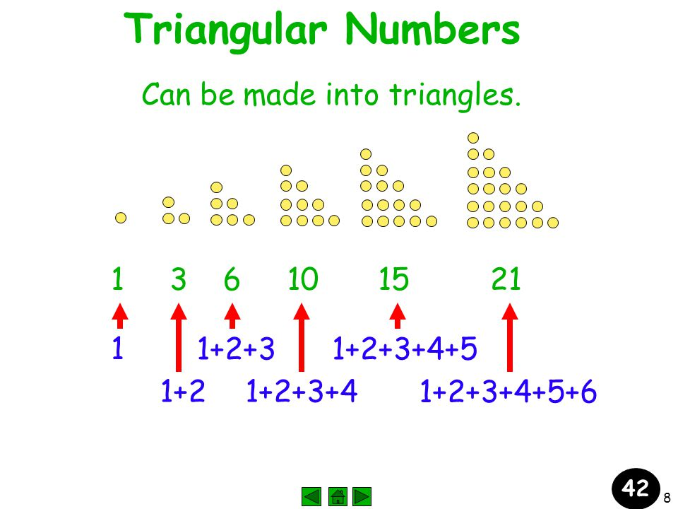 8 Triangular Numbers Can be made into triangles.