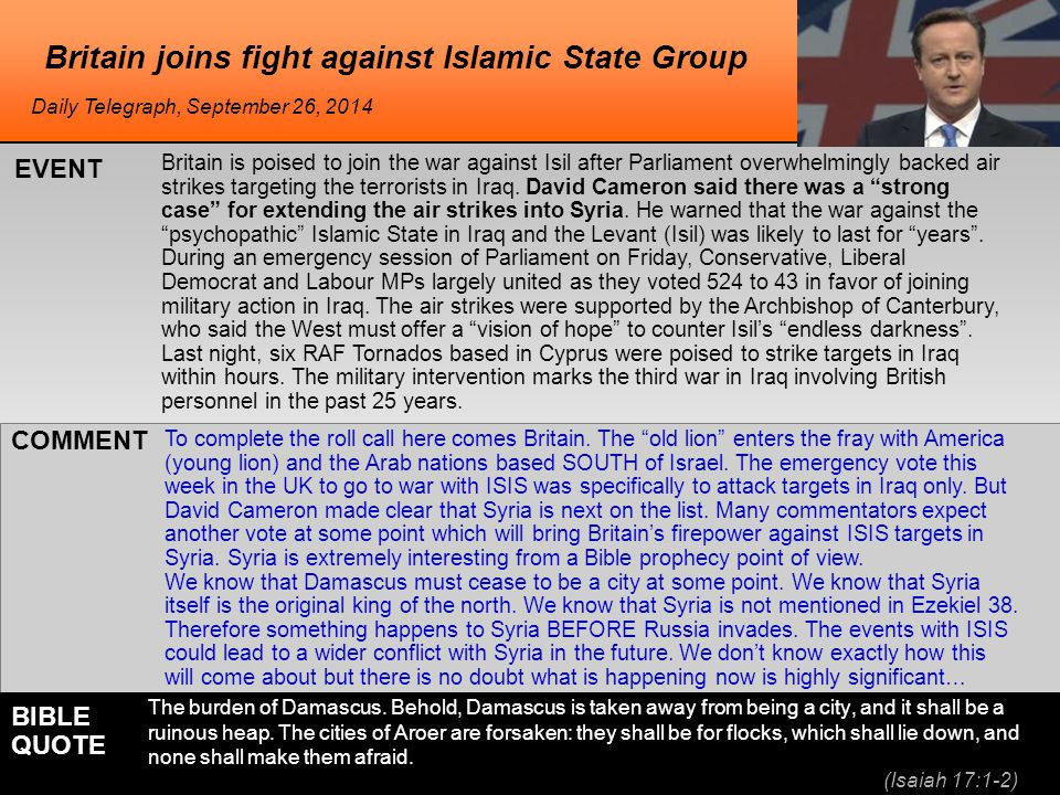 he Britain joins fight against Islamic State Group Britain is poised to join the war against Isil after Parliament overwhelmingly backed air strikes targeting the terrorists in Iraq.