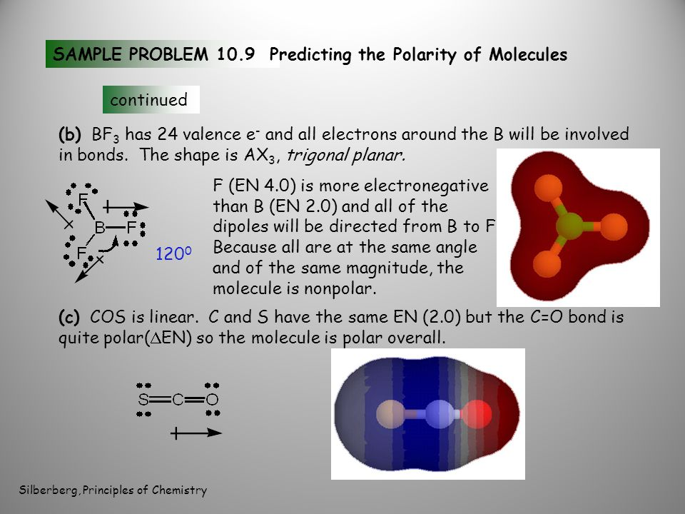 SAMPLE PROBLEM 10.9Predicting the Polarity of Molecules continued (b) BF 3 has 24 valence e - and all electrons around the B will be involved in bonds.