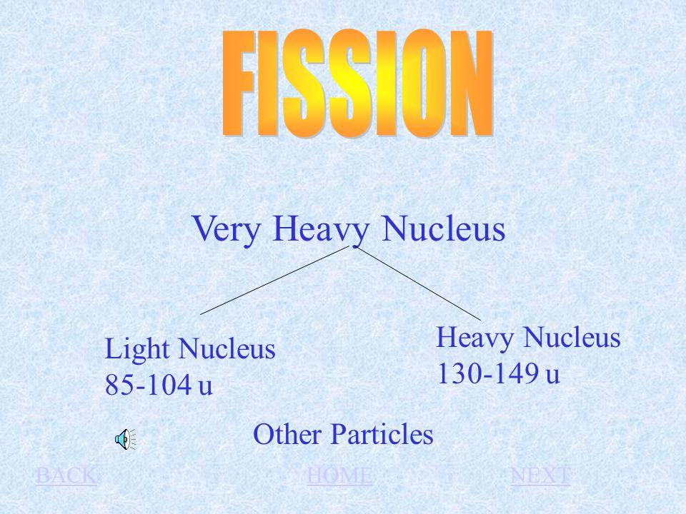 Very Heavy Nucleus Light Nucleus 85-104 u Heavy Nucleus 130-149 u Other Particles BACKHOMENEXT