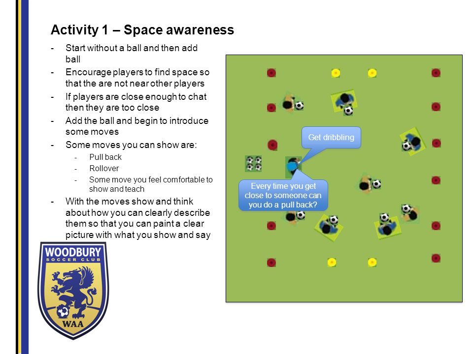 Activity 1 – Space awareness -Start without a ball and then add ball -Encourage players to find space so that the are not near other players -If players are close enough to chat then they are too close -Add the ball and begin to introduce some moves -Some moves you can show are: -Pull back -Rollover -Some move you feel comfortable to show and teach -With the moves show and think about how you can clearly describe them so that you can paint a clear picture with what you show and say Get dribbling Every time you get close to someone can you do a pull back?