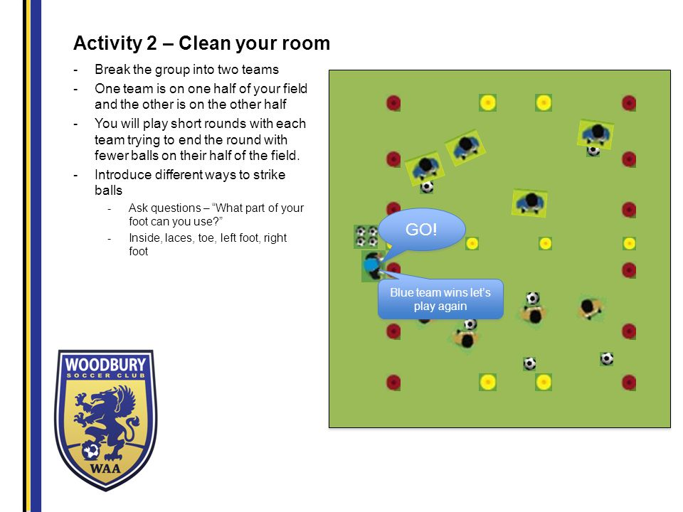 Activity 2 – Clean your room -Break the group into two teams -One team is on one half of your field and the other is on the other half -You will play