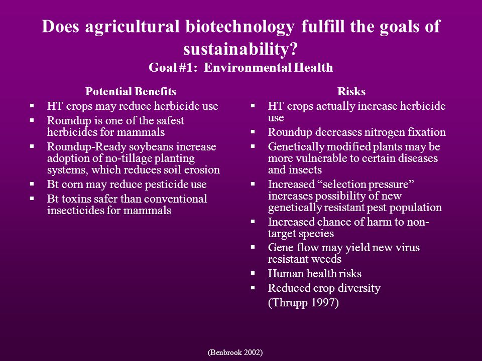 Does agricultural biotechnology fulfill the goals of sustainability.