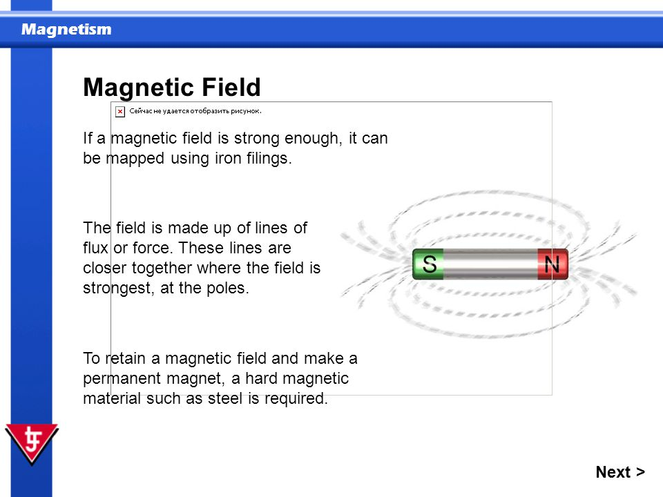 Magnetism The field is made up of lines of flux or force. These lines are closer together where the field is strongest, at the poles. If a magnetic fi