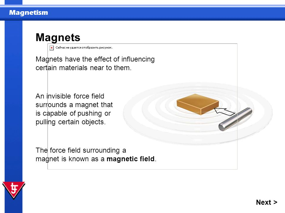 Magnetism An invisible force field surrounds a magnet that is capable of pushing or pulling certain objects. The force field surrounding a magnet is k