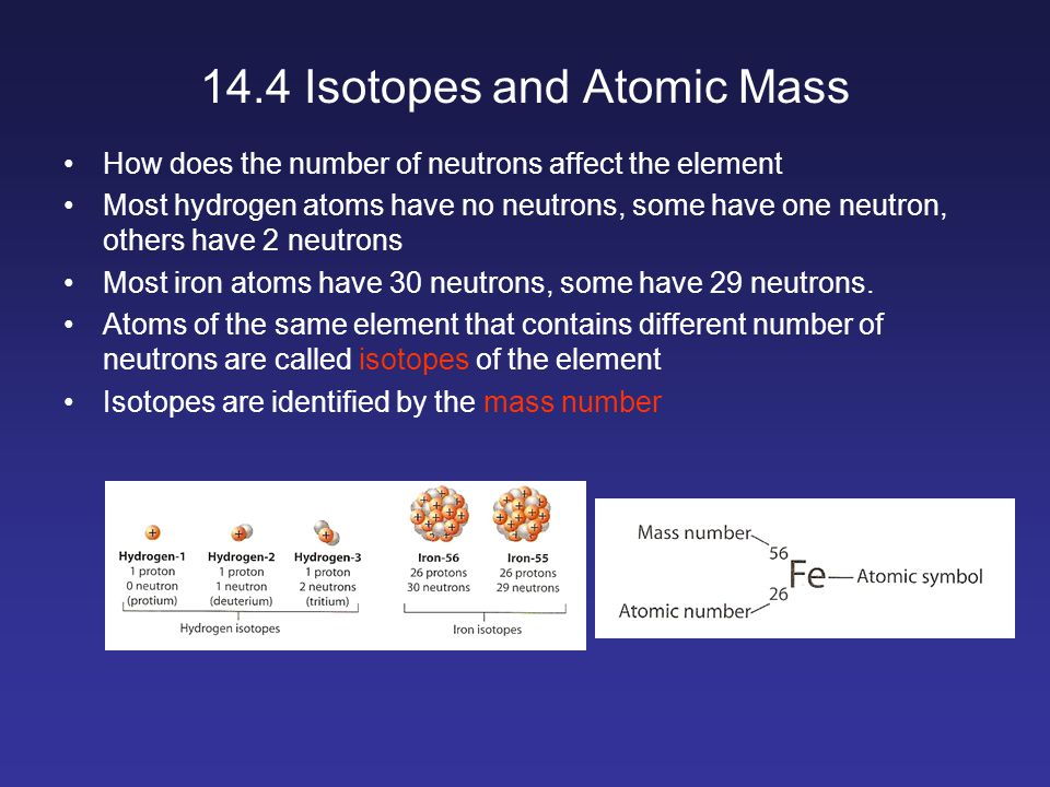 14.4 Isotopes and Atomic Mass How does the number of neutrons affect the element Most hydrogen atoms have no neutrons, some have one neutron, others have 2 neutrons Most iron atoms have 30 neutrons, some have 29 neutrons.