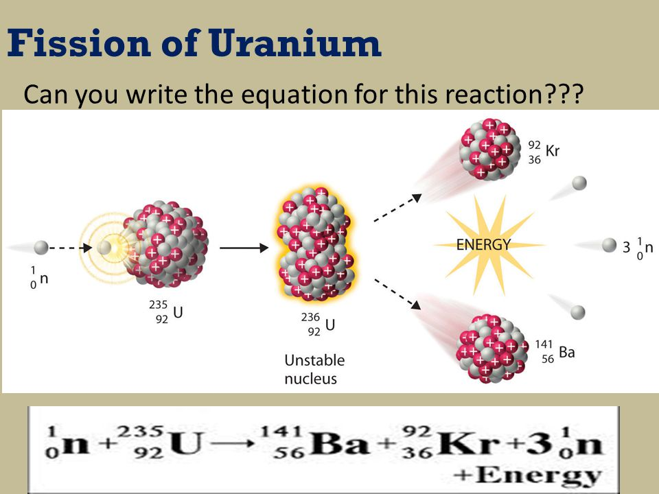 Fission of Uranium Can you write the equation for this reaction???