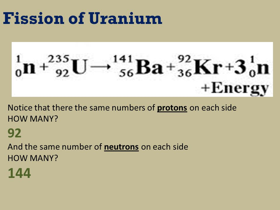 Fission of Uranium Notice that there the same numbers of protons on each side HOW MANY.