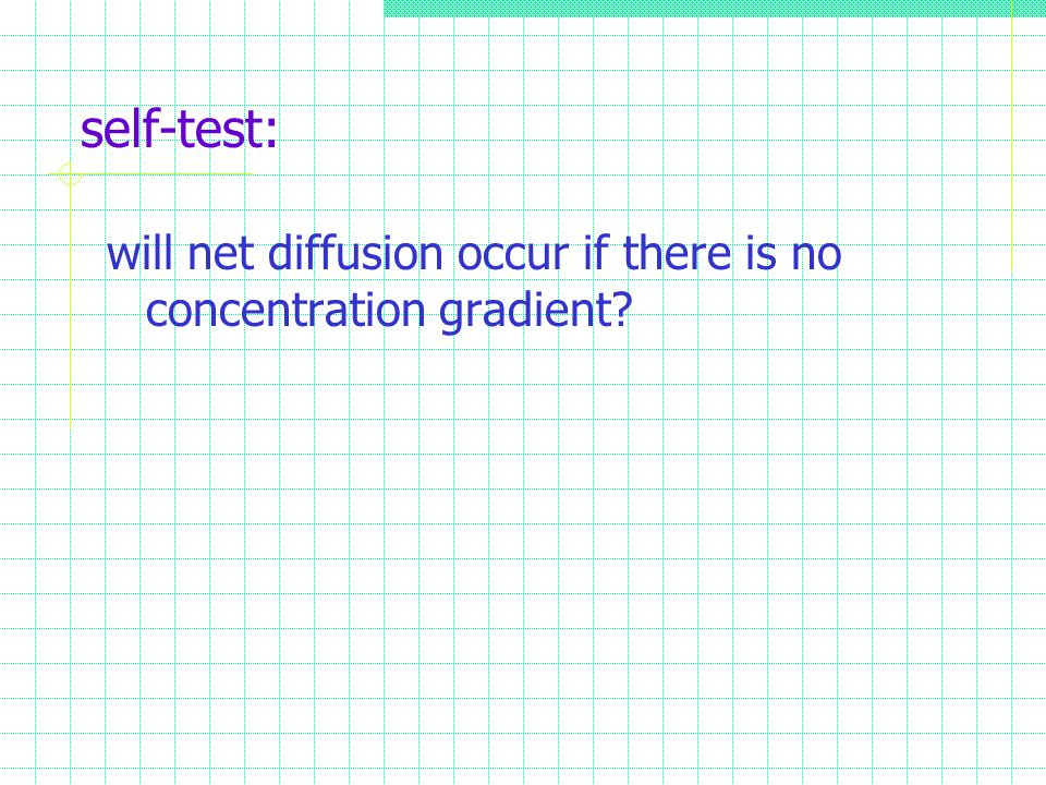 self-test: will net diffusion occur if there is no concentration gradient?