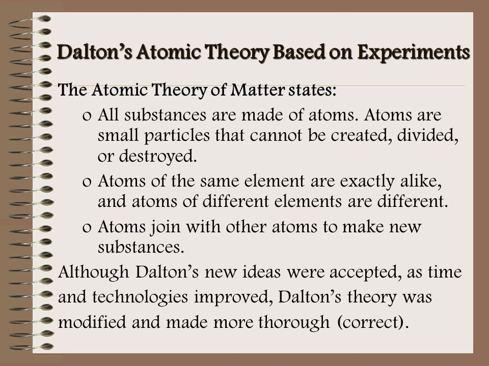Dalton's Atomic Theory Based on Experiments The Atomic Theory of Matter states: oAll substances are made of atoms. Atoms are small particles that cann