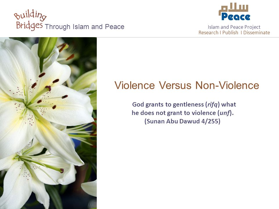 Violence Versus Non-Violence Through Islam and Peace God grants to gentleness (rifq) what he does not grant to violence (unf).