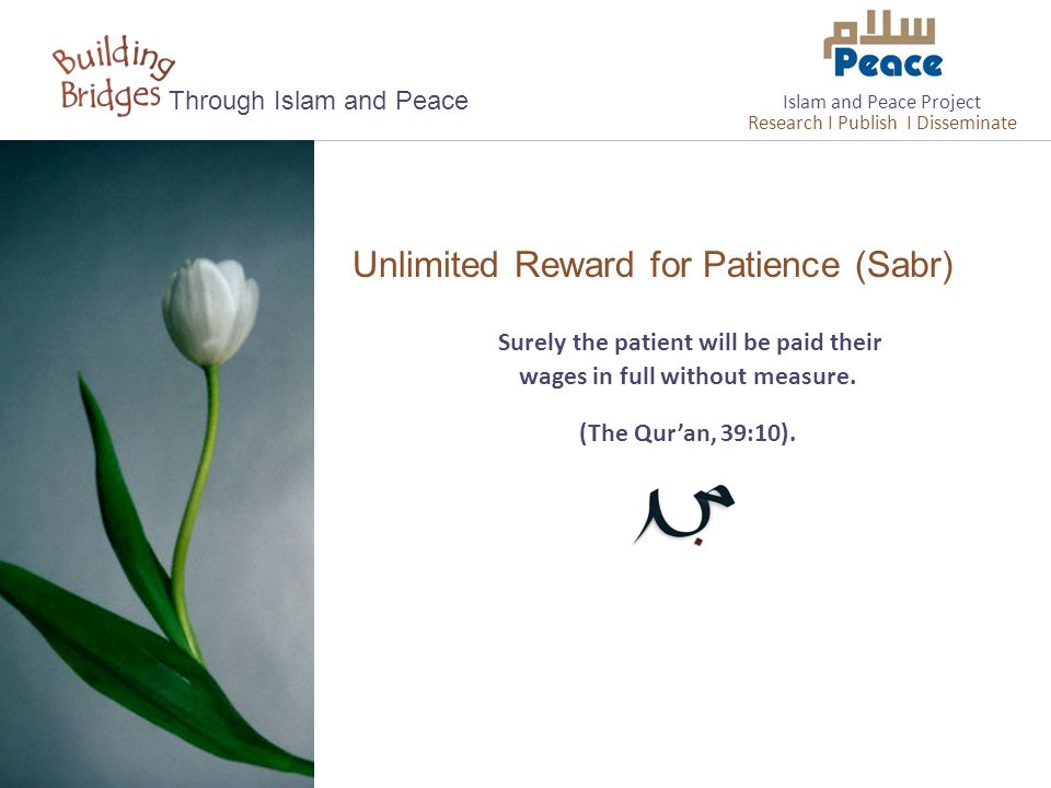 Unlimited Reward for Patience (Sabr) Through Islam and Peace Surely the patient will be paid their wages in full without measure. (The Qur'an, 39:10).