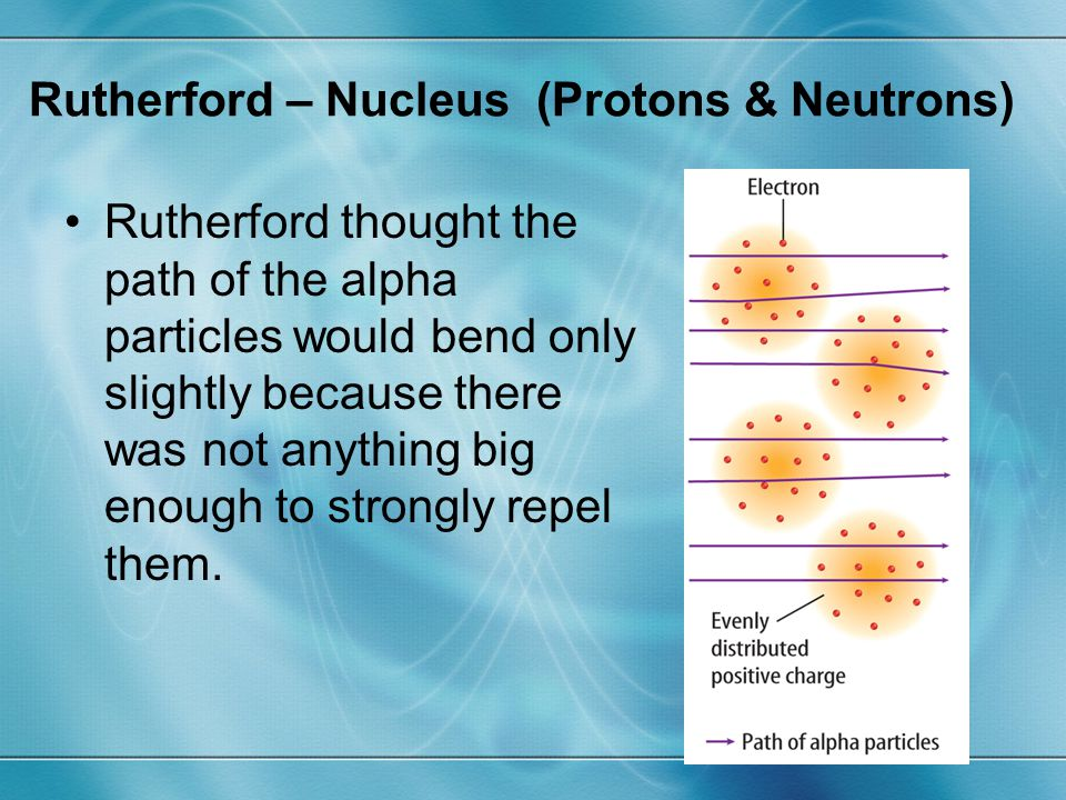 Rutherford thought the path of the alpha particles would bend only slightly because there was not anything big enough to strongly repel them. Rutherfo