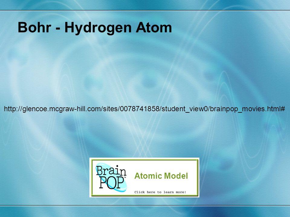 Bohr - Hydrogen Atom Atomic Model http://glencoe.mcgraw-hill.com/sites/0078741858/student_view0/brainpop_movies.html#