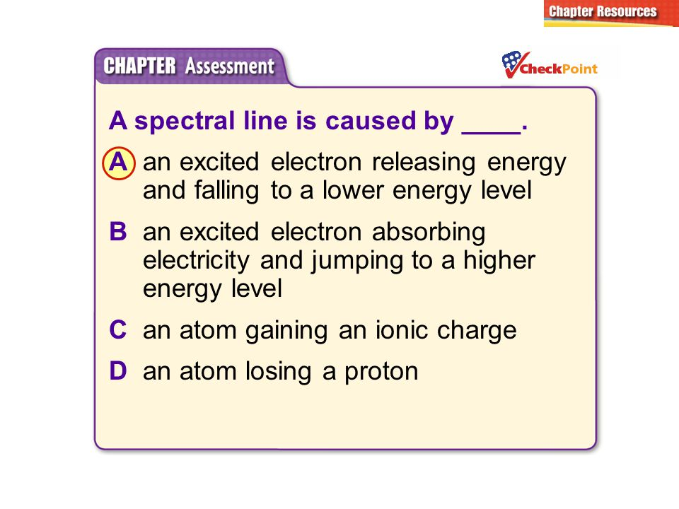 A spectral line is caused by ____. Aan excited electron releasing energy and falling to a lower energy level Ban excited electron absorbing electricit