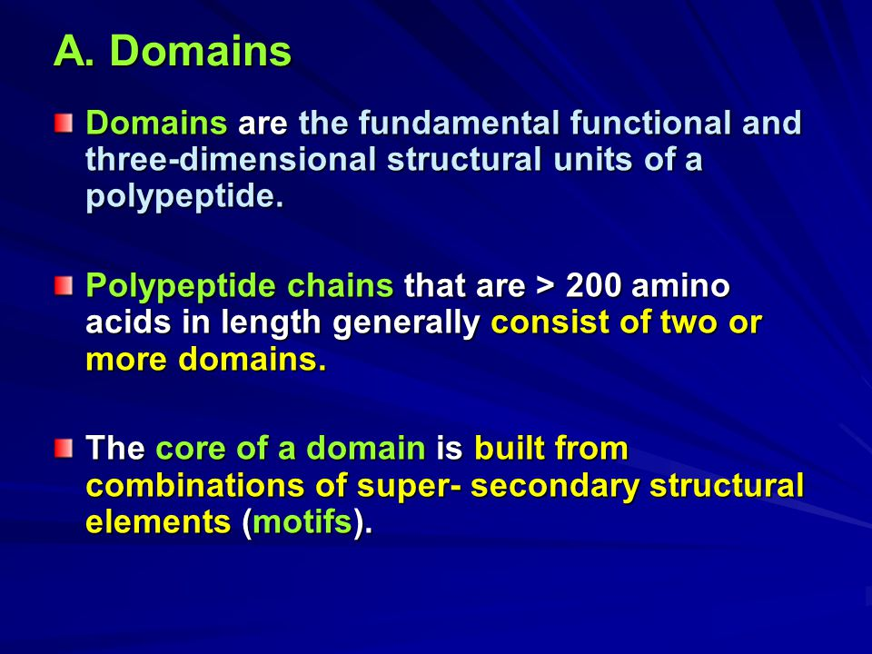 A. Domains Domains are the fundamental functional and three-dimensional structural units of a polypeptide. Polypeptide chains that are > 200 amino aci