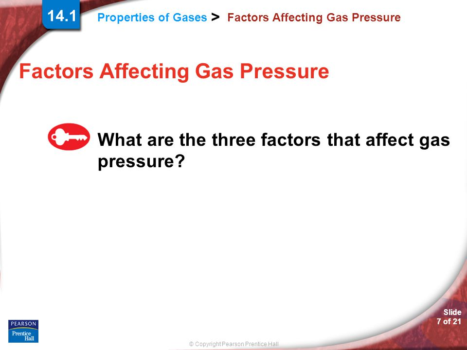 © Copyright Pearson Prentice Hall Properties of Gases > Slide 7 of 21 14.1 Factors Affecting Gas Pressure What are the three factors that affect gas p