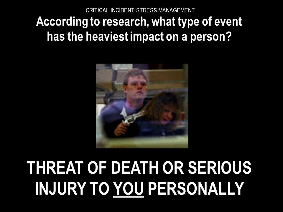 CRITICAL INCIDENT STRESS MANAGEMENT SUCH EVENTS HEIGHTEN:- DisbeliefDenial DistressAnger Resentment Revenge