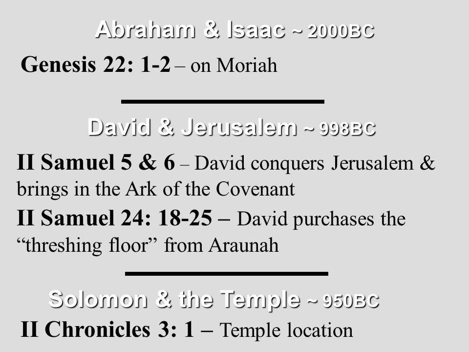 "David & Jerusalem ~ 998BC II Samuel 5 & 6 – David conquers Jerusalem & brings in the Ark of the Covenant II Samuel 24: 18-25 – David purchases the ""th"