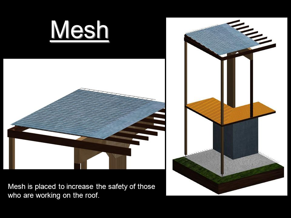 Mesh Mesh is placed to increase the safety of those who are working on the roof.